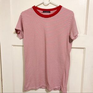 Brandy Melville Red/White Crewneck Striped T-Shirt